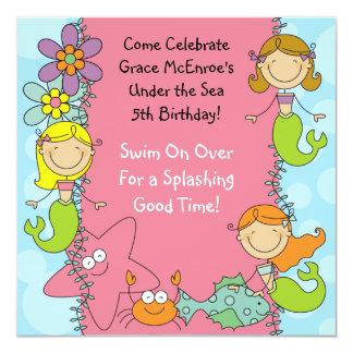 """Stick Figure Mermaid Custom Birthday Invitation 5.25"""" Square Invitation Card"""