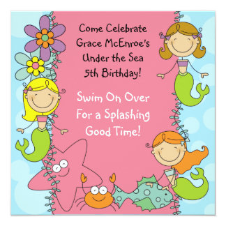 Stick Figure Mermaid Custom Birthday Invitation