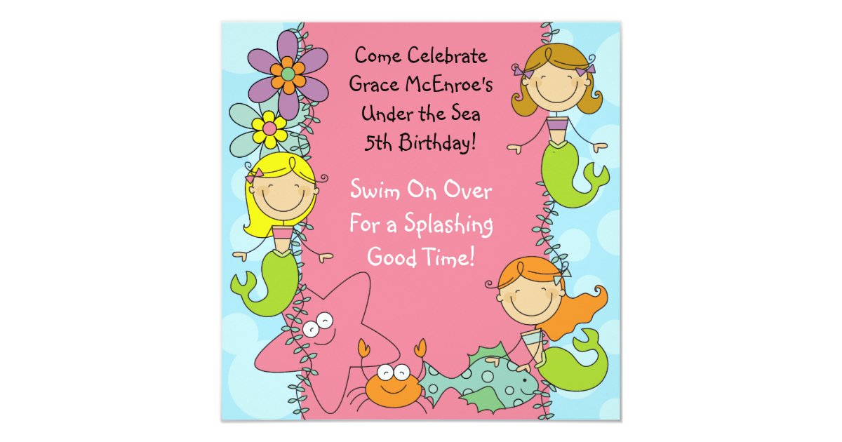 Stick Figure Wedding Invitations: Stick Figure Mermaid Custom Birthday Invitation
