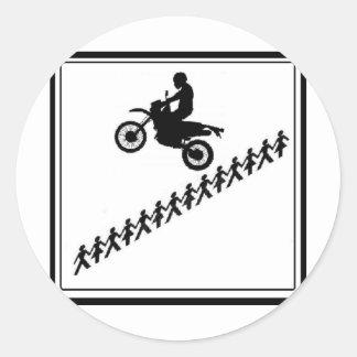 STICK FIGURE MOTOCROSS ROUND STICKER