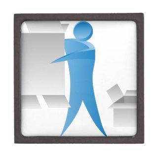Stick Figure Mover Man Assembling Boxes