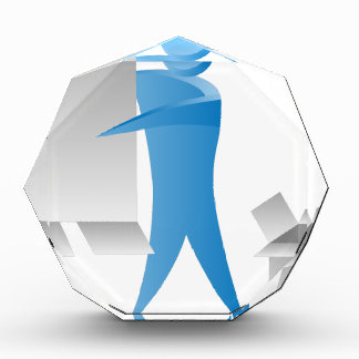 Stick Figure Mover Man Assembling Boxes Acrylic Award