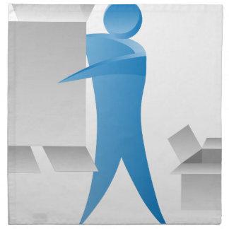 Stick Figure Mover Man Assembling Boxes Cloth Napkin