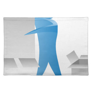 Stick Figure Mover Man Assembling Boxes Cloth Placemat