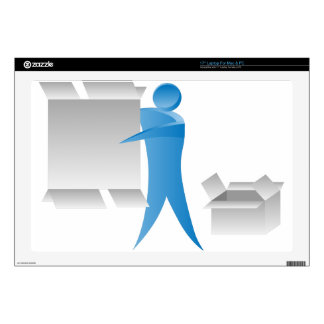 """Stick Figure Mover Man Assembling Boxes Decal For 17"""" Laptop"""