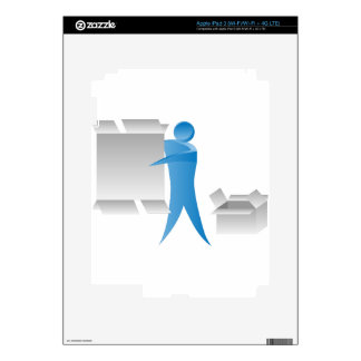 Stick Figure Mover Man Assembling Boxes Decals For iPad 3
