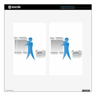 Stick Figure Mover Man Assembling Boxes Decals For Kindle Fire