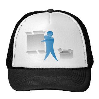 Stick Figure Mover Man Assembling Boxes Trucker Hat