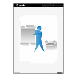 Stick Figure Mover Man Assembling Boxes iPad 2 Decal