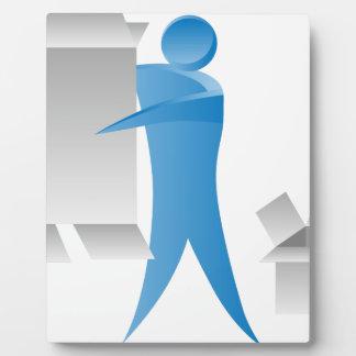 Stick Figure Mover Man Assembling Boxes Plaque