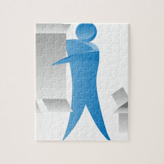 Stick Figure Mover Man Assembling Boxes Puzzle