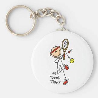 Stick Figure Number One Tennis Player Men Keychain