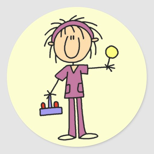 Stick Figure Nurse With Lollipop Tshirts and Gifts Classic Round Sticker