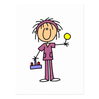 Stick Figure Nurse With Lollipop Tshirts and Gifts Postcard