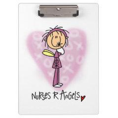 Stick Figure Nurses R Angels Clipboard