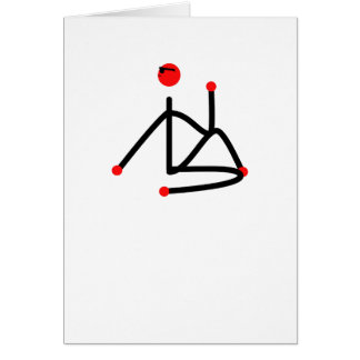 Stick figure of half lord of the fishes yoga pose. card