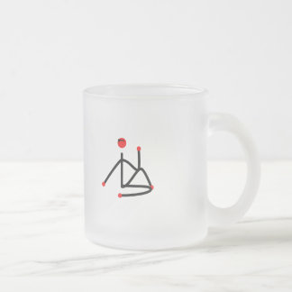 Stick figure of half lord of the fishes yoga pose. frosted glass coffee mug