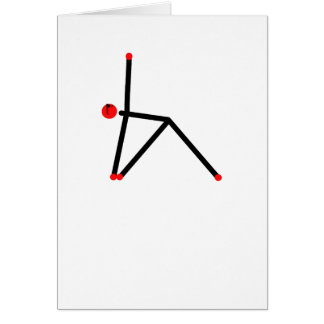 Stick figure of triangle yoga pose. card