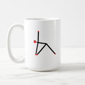 Stick figure of triangle yoga pose. coffee mug