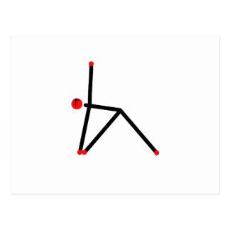 Stick figure of triangle yoga pose. postcard