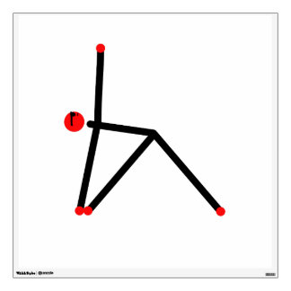 Stick figure of triangle yoga pose. wall decal
