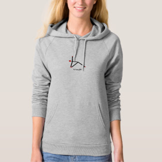Stick figure of triangle yoga pose with Sanskrit Hoodie
