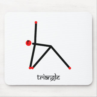 Stick figure of triangle yoga pose with Sanskrit Mouse Pad