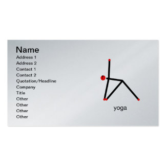 Stick figure of triangle yoga pose with yoga text. business card