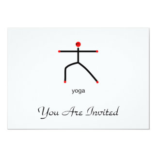 Stick figure of warrior 2 pose with yoga text. card