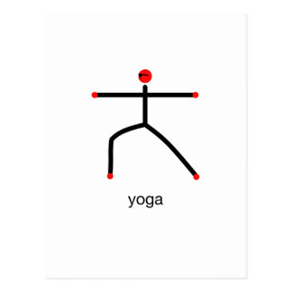 Stick figure of warrior 2 pose with yoga text. postcard