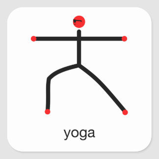 Stick figure of Warrior 2 pose with yoga text.x Square Sticker