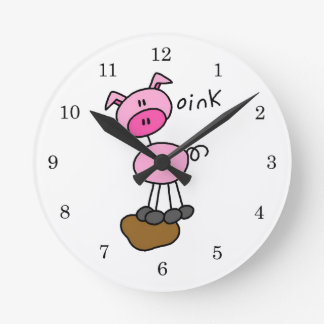 Stick Figure Pig T-shirts and Gifts Round Wall Clock