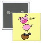 Stick Figure Pig Tshirts and Gifts Button