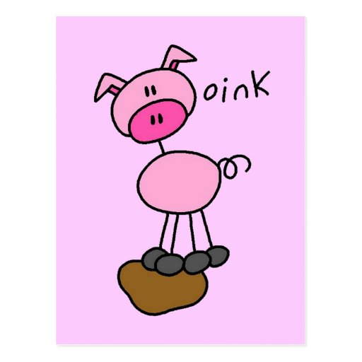 Stick Figure Pig Tshirts and Gifts Postcard