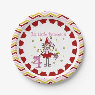 Stick Figure Princess 4th Birthday Paper Plates