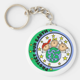 Stick Figure Protect Our Earth T-shirts and Gifts Basic Round Button Keychain