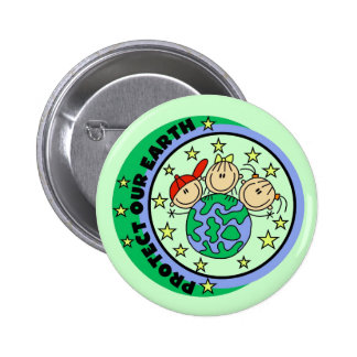Stick Figure Protect Our Earth T-shirts and Gifts Pinback Button