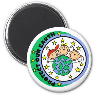Stick Figure Protect Our Earth T-shirts and Gifts Magnet