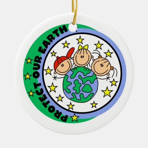 Stick Figure Protect Our Earth T-shirts and Gifts Double-Sided Ceramic Round Christmas Ornament