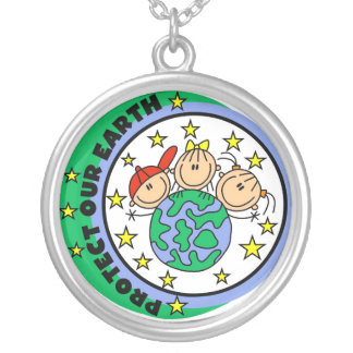 Stick Figure Protect Our Earth T-shirts and Gifts Silver Plated Necklace
