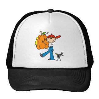 Stick Figure Pumpkin Boy Baseball Cap Trucker Hat