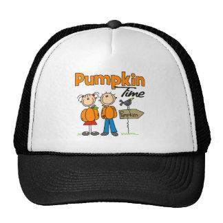 Stick Figure Pumpkin Time Baseball Cap Trucker Hat