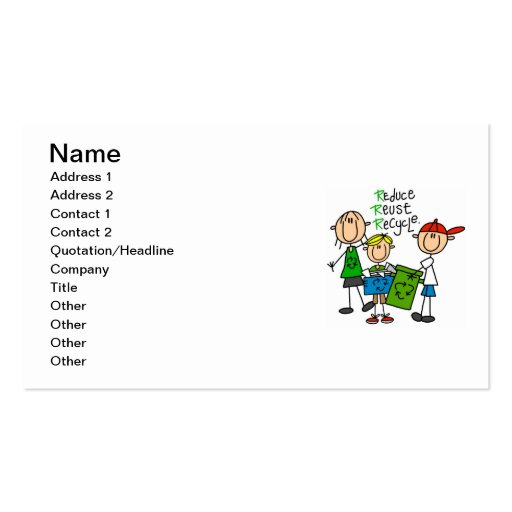 Stick Figure Reduce  Reuse Recycle T-shirts Double-Sided Standard Business Cards (Pack Of 100)