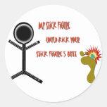 Stick figure round sticker