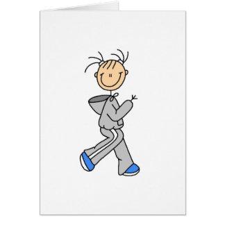 Stick Figure Running Card