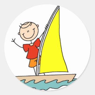 Stick Figure Sailing Sticker