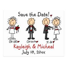 Stick Figure Save the Date! Postcard