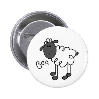 Stick Figure Sheep Pinback Button