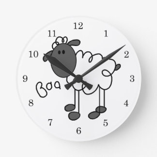 Stick Figure Sheep T-shirts and Gifts Round Clocks