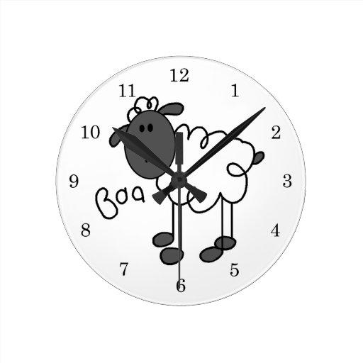 Stick Figure Sheep T-shirts and Gifts Clocks